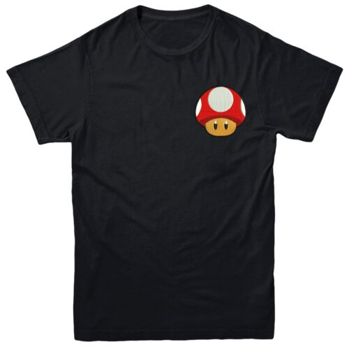Super Mushroom Super Mario  Embroidered Tee Top Mushroom Mario T-shirt