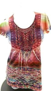 NWOT ONE WORLD WOMEN'S MULTI COLOR SEQUINED SHORT SLEEVED T-SHIRT SIZE S