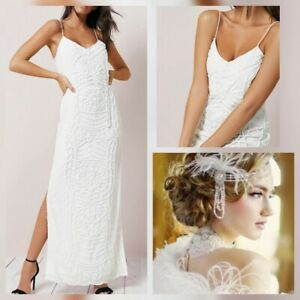 Details About River Island Beaded Ivory Cami 20s Deco Gatsby Bride Wedding Maxi Dress 12 New