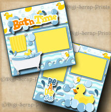 BATH TIME baby boy girl 2 premade scrapbook pages paper piecing layout DIGISCRAP