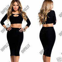 Womens Cocktail Crop Top and High Waisted Midi Bodycon Skirt Two Piece Dress Set
