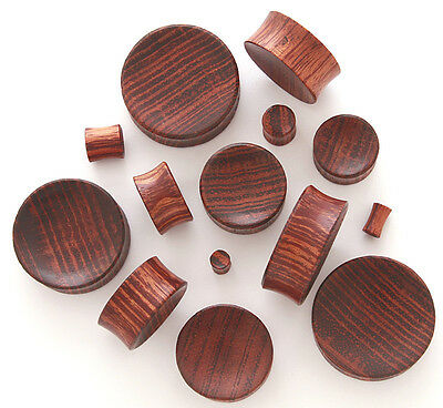 RED TIGER WOOD WOODEN HAND CARVED CONCAVE EAR STRETCHER PLUG / TUNNEL 3-30mm