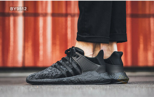 best sneakers 7a4b9 b1a26 adidas EQT Support 93/17 Mens By9512 Black Knit Boost Running Shoes Size 8.5