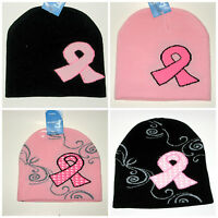 4 Hat Lot Pink Ribbon Breast Cancer Awareness Knit Beanie Hats
