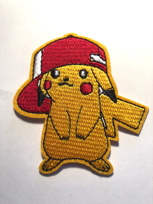 """Sew On Applique 2.70/"""" X 3.50/"""" Red Hat Pokemon Patch Pikachu Embroidered Iron"""