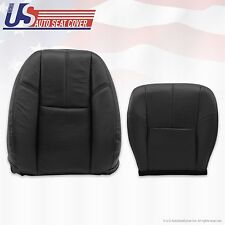 2007 - 2012 GMC Sierra Driver Bottom & Top Lean Back Leather Seat Covers Black