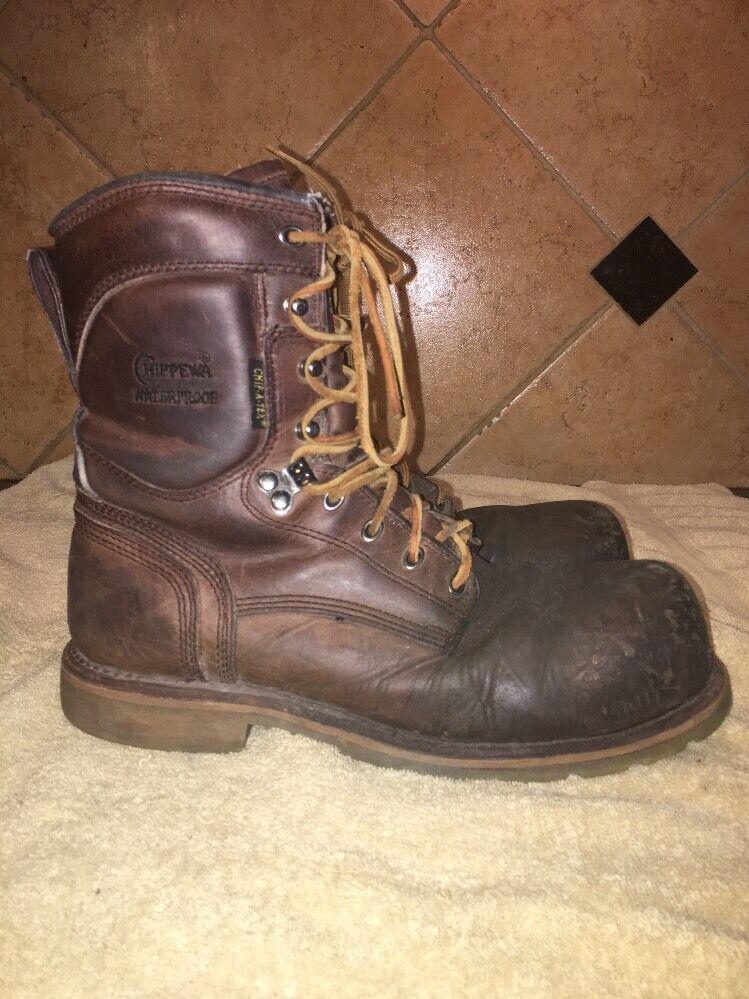 Chippewa Brown Leather Steel Toe Boots Sz 8 M