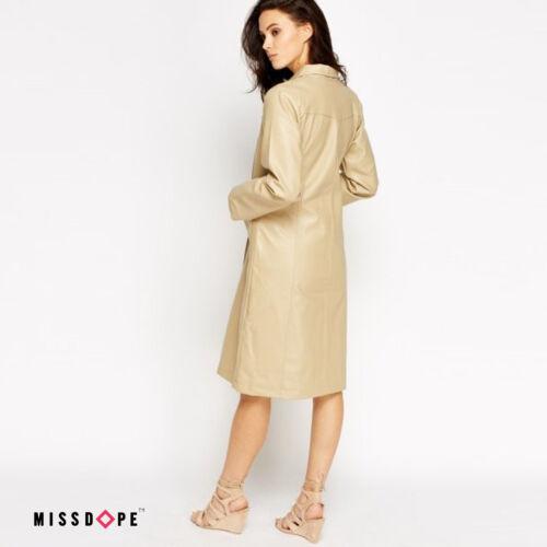 Neuf en cuir beige faux trench coat femme marron clair mac veste longue outwear uk