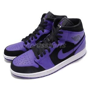 7de599a4bd7a7a Nike Air Jordan 1 Mid Black Concord Purple Mens Shoes Sneakers AJ1 ...