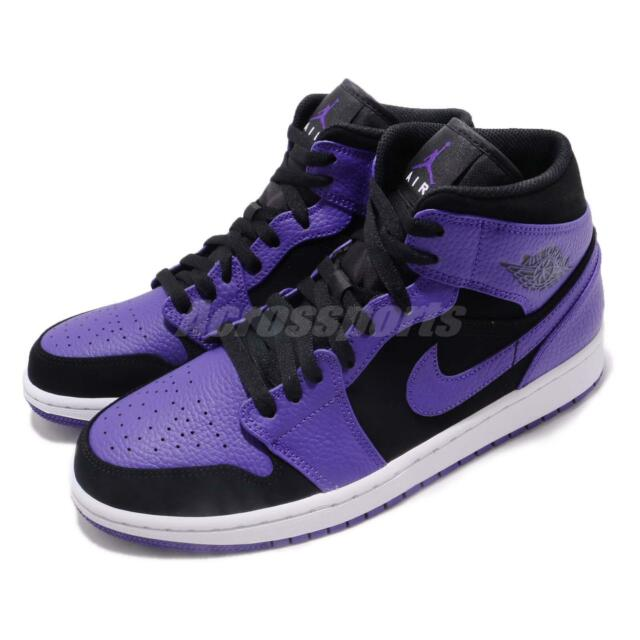 buy online 101e7 09e82 Nike Air Jordan 1 Mid Black Concord Purple Mens Shoes Sneakers AJ1  554724-051