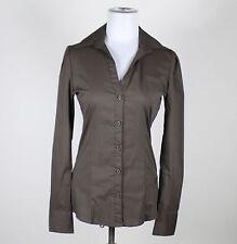 SILVIAN HEACH dark brown cotton blend long sleeve stretch button down shirt M