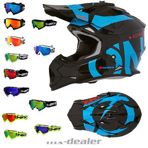 O-039-Neal-2series-Liscia-Nero-Blu-Casco-Cross-Casco-Mx-Motocross-Cross-Hp7-Occhiali