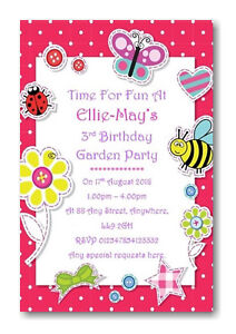 Image is loading 20-Personalised-Garden-Birthday-Party-Invitations-Ref-B2-