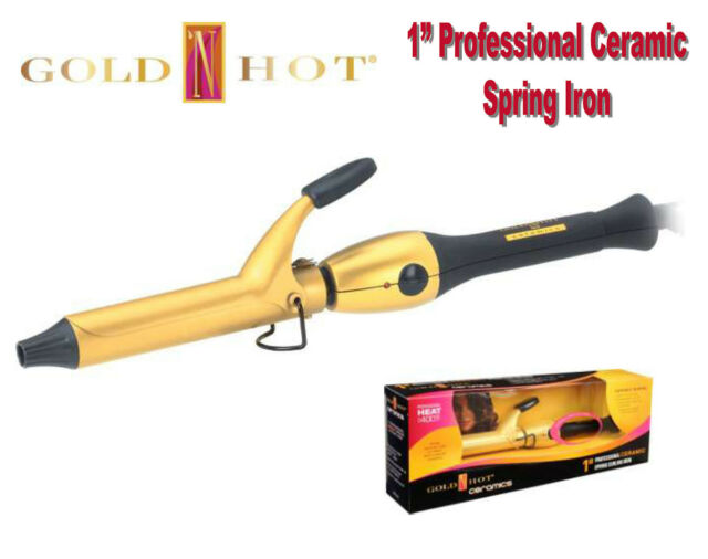 "GOLD N HOT GH2149  1"" Professional Ceramic Spring Hair Curling Iron sale"