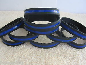 Thin Blue Line Silicone Wristbands