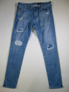 AG-Adriano-Goldschmied-THE-MIDDI-ANKLE-Mid-Rise-Legging-Distressed-JEANS-Size-27