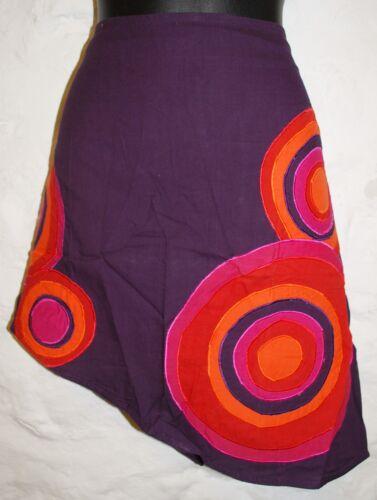 Nouveau Brodé Mini Jupe L 16-Hippy Commerce Équitable Hippie Gypsy Cercles Boho