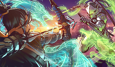 Poster A3 Overwatch Genji Hanzo Videogame Videojuego Cartel Decor Impresion 01
