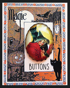 Details about OLD WITCH AND BLACK CAT ~ OVAL STUDIO BUTTON Filigree XL  Vintage HALLOWEEN ART