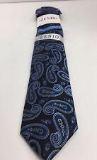 Zenio Slim Tie & Two Hankies Set Black Royal Blue Powder Blue & Gray for Men