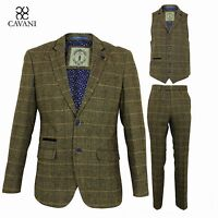 Mens Designer Wool Tweed Blazer Waistcoat Trousers Sold Separately 3 Piece Suit