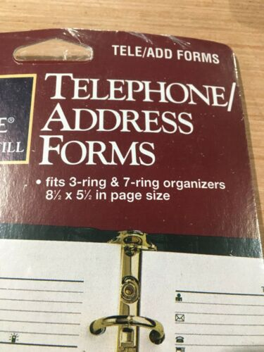 Mead Planner 47036 Refill Undated Telephone Address 30 Shts Franklin Day Runner