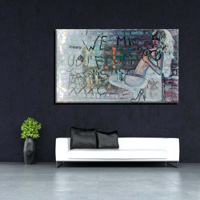 LEINWAND BILD BILDER XXL POP ART ABSTRAKT GRAFFITI STRAPSE EROTIK SEX - 150x90
