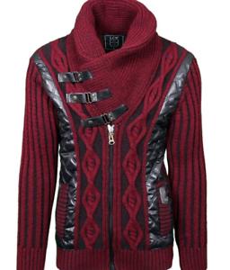 b0833ab484526 LCR Men s Fashion Sweater Jumper Knit Cardigan Color Burgundy Black ...