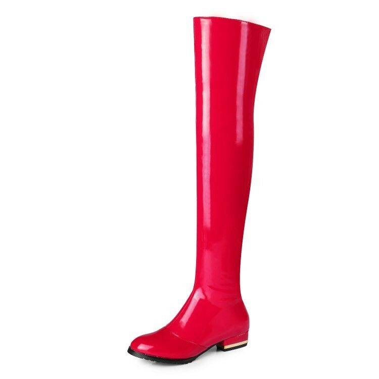 Ladies shoes shoes shoes Real Leather+Synthetic Low Heel Zip Up Over Knee Boots US Size b204 b67a3f