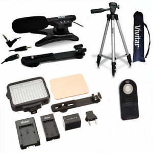 50-034-TRIPOD-MICROPHONE-120-LED-HD-LIGHT-FOR-CANON-EOS-REBEL-T5I-T6-T3I-T4-T7
