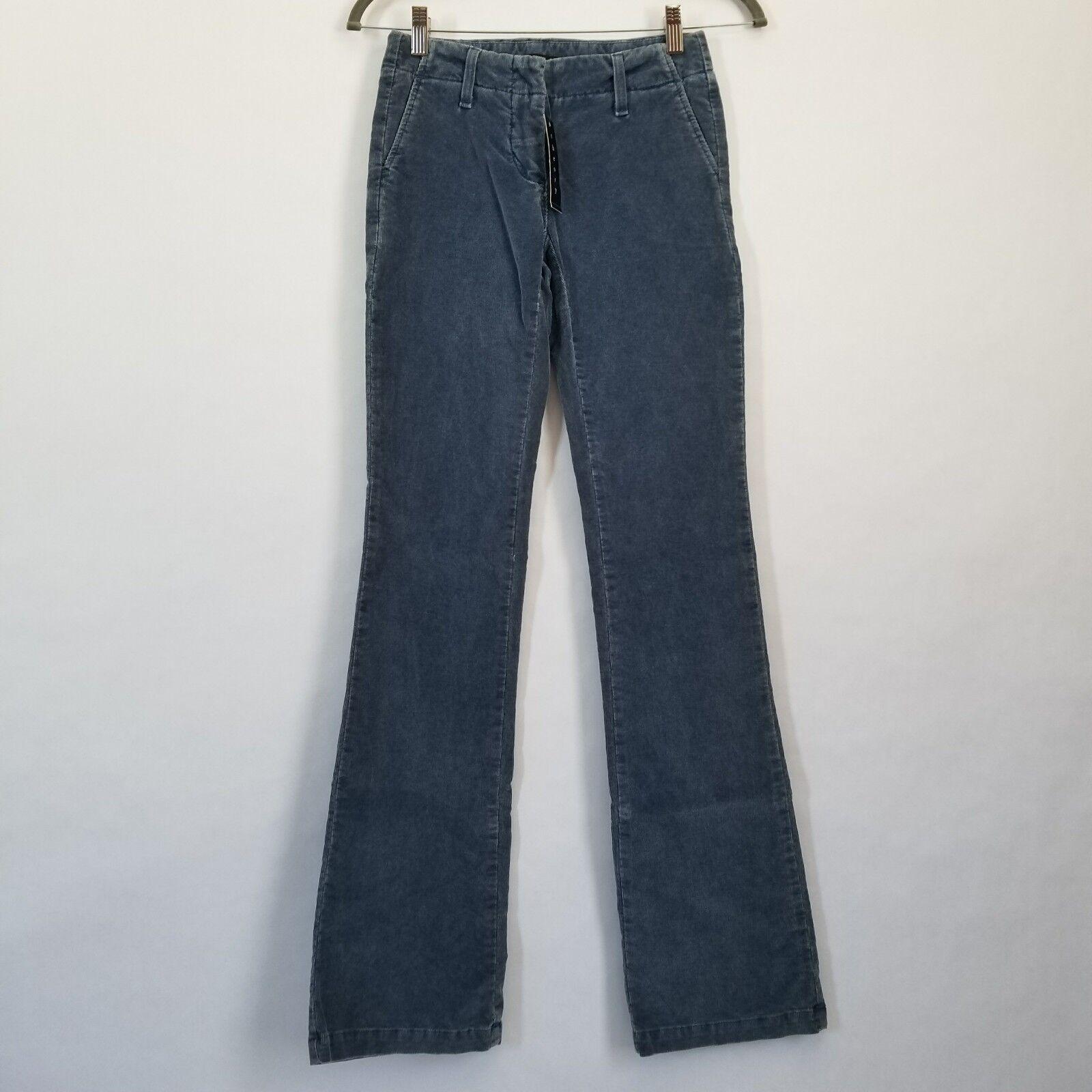 280 NEW Theory SUGAR women size 00 faded bluee corduroy flare pants waist 26