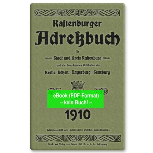 Krs AB371 eBook: Adressbuch Stadt u Rastenburg Ostpreußen 1910 Kętrzyn
