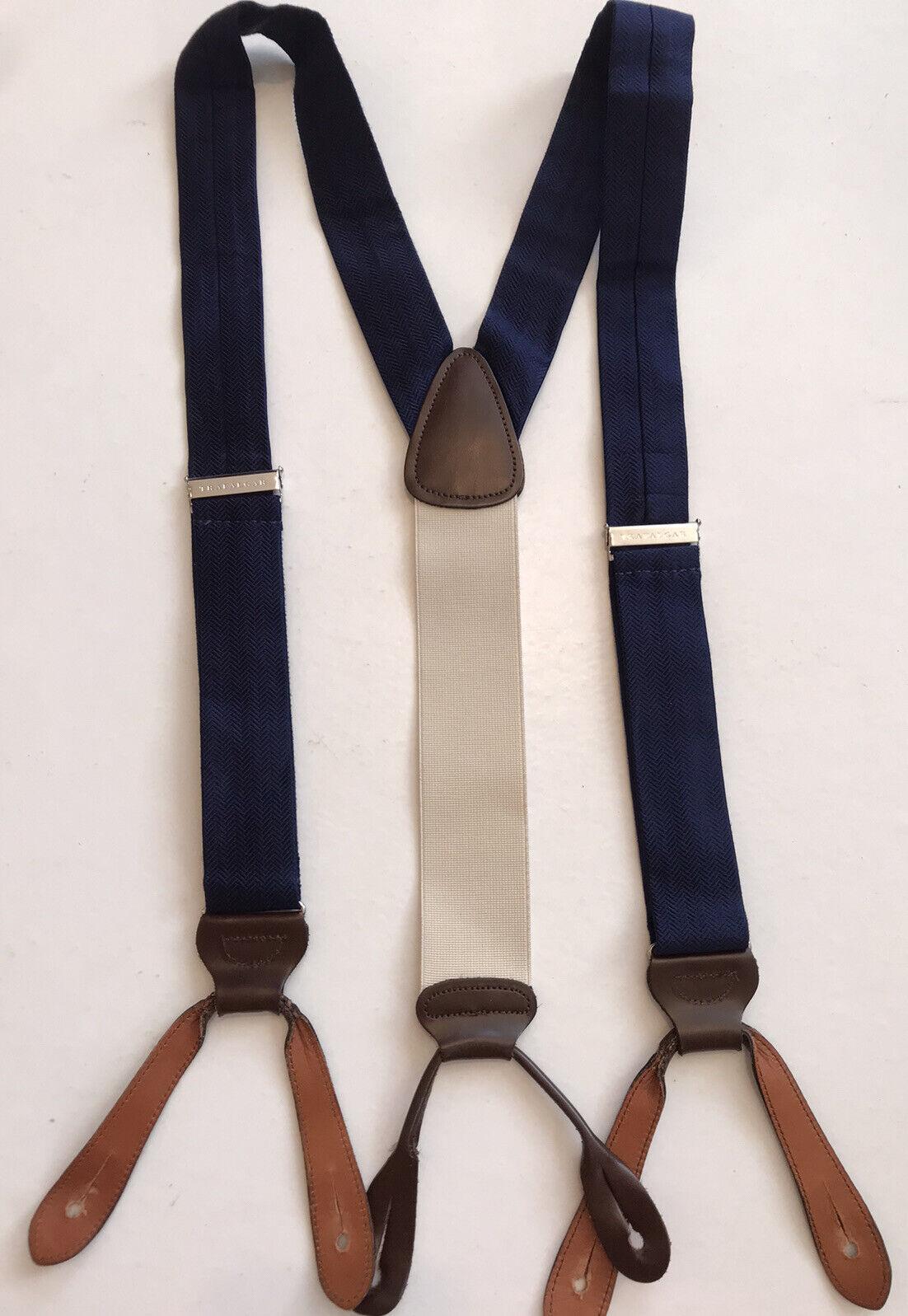 Trafalgar Suspenders Braces Silk Navy Blue White Dark Brown Leather Brass