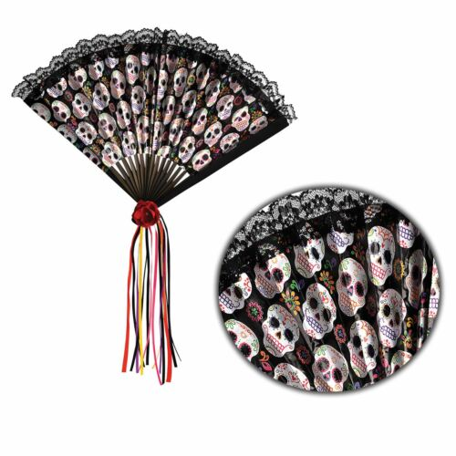 Adults Day of the Dead Sugar Skull Mexican Spanish Hand Fan Halloween Accessory