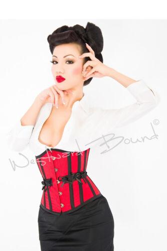 "B0077RD RED UNDERBUST Burlesque BONED CORSET 20/"" Fancy Dress RRP £99.00"