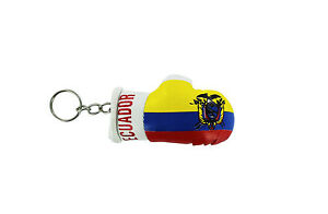PORTACHIAVI-pelle-porta-chiavi-auto-keychain-Guantoni-da-boxe-bandiera-Ecuador