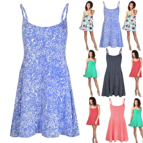 Womens Sleeveless Ladies Strappy Floral Printed Flared Swing Camisole Mini Dress