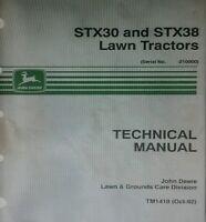 John Deere Stx-38 & Stx-30 Lawn Garden Tractor & Mower Service Shop Manual 286pg