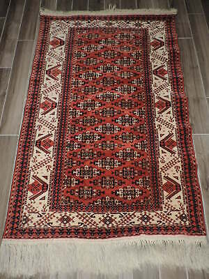 Handmade Turkoman Bokharra Wool Rug Antiques Amicable 4x6ft