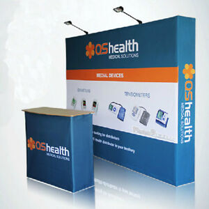 Details About 10ft Tension Fabric Trade Show Display Backdrop Wall Exhibit Pop Up Banner Booth