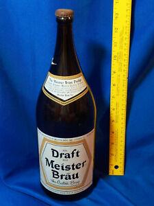 Huge Beer Bottle Advertising Meister Brau Pledge VTG Half Gallon Cap Draft