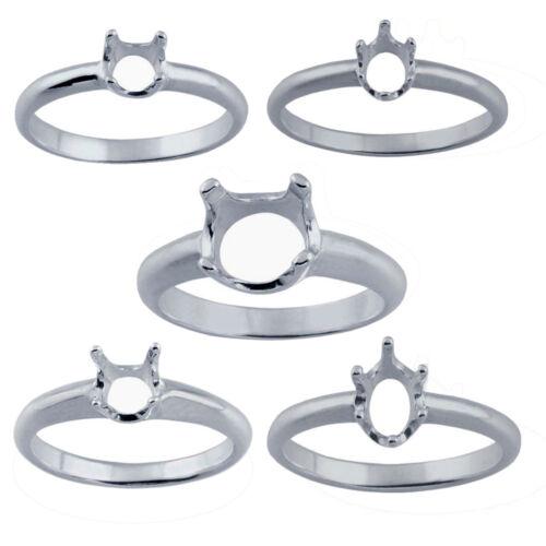Redondo//oval 925 STERLING SILVER ANILLO pre-con muescas ajuste de montaje//Talla N