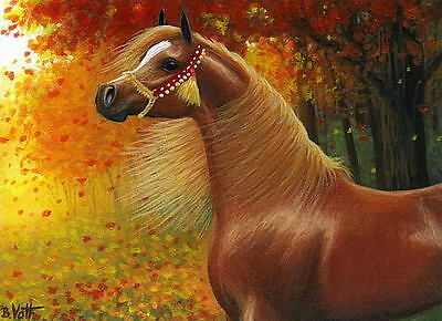 Chestnut arabian horse autumn fall wind leaves limited edition aceo print art