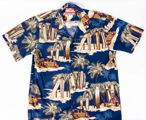 RJC-Hawaiian-Shirt-Surfboards-and-Wood-Panel-Vans-Mens-Size-M