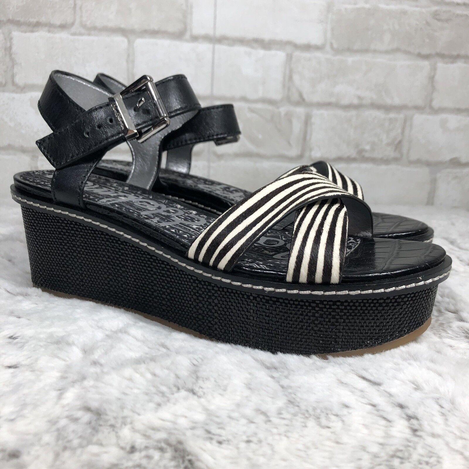 NWOB Sam Edelman Zebra Print Calf Fur Ankle Strap Platform Wedges Dimensione 9M ( K13)