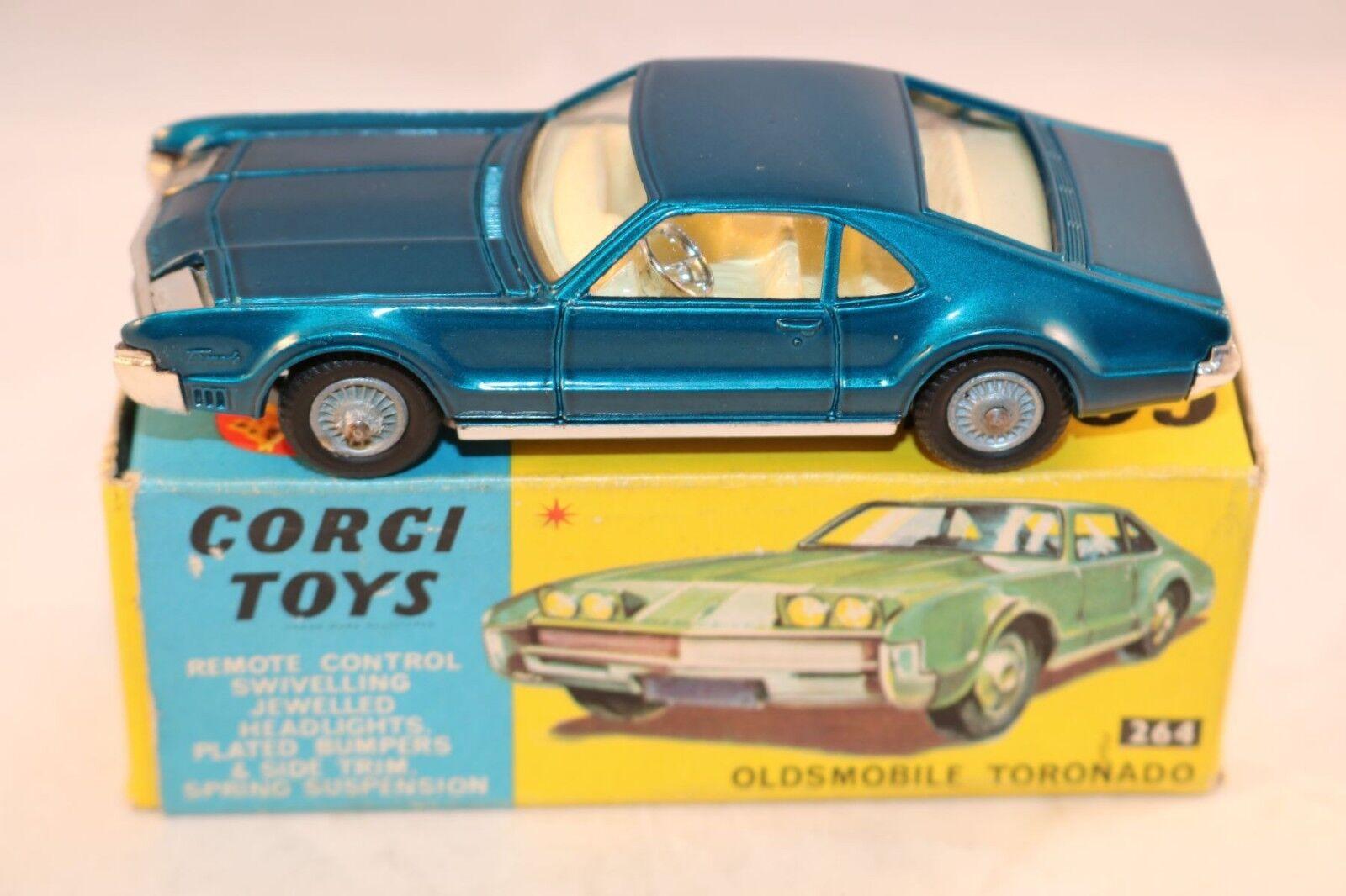 Corgi giocattoli 264 Oldsmobile Toronado blu version mint in scatola tutti original