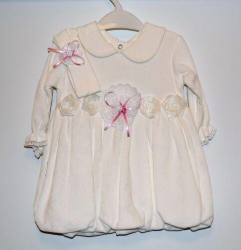 Magnifique Bébé Fille Blanc Baptême Fête Robe bandeau Ensemble Velours 3-6-9-12M