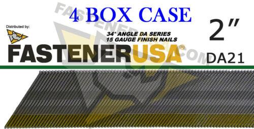 "Case of 4 DA21 15 Gauge BRITE Angled Finish Nails 34 Degree 2/"" 4M ct"