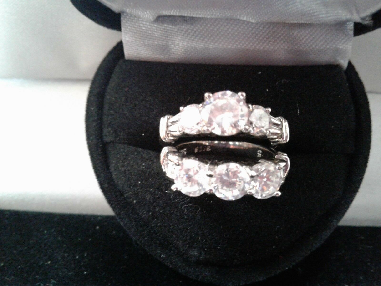 PLATINUM & SS  ROUND LCS DIAMOND ENGAGEMENT RING SET SZ 8 + GIFT