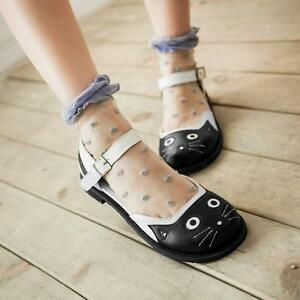 5aee6a7cb6765 Womens Funny Cat Style Sandals Shoes Korea Round Toe Lovely Princess ...